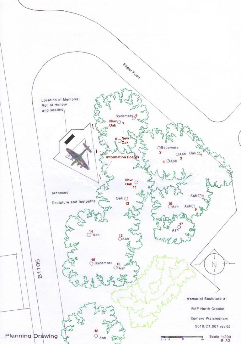 Drawings of aerial view of proposed RAF North Creake memorial